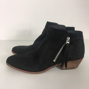 Sam Edelman Black Leather Side Zipper Booties